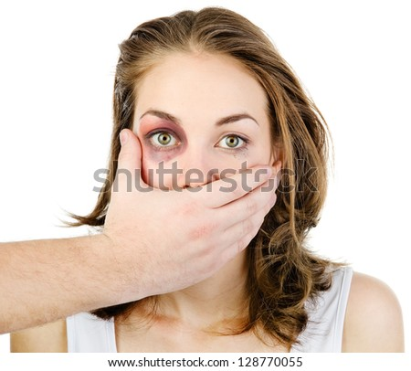 Fear of woman victim of domestic violence and abuse. isolated on white background - stock photo