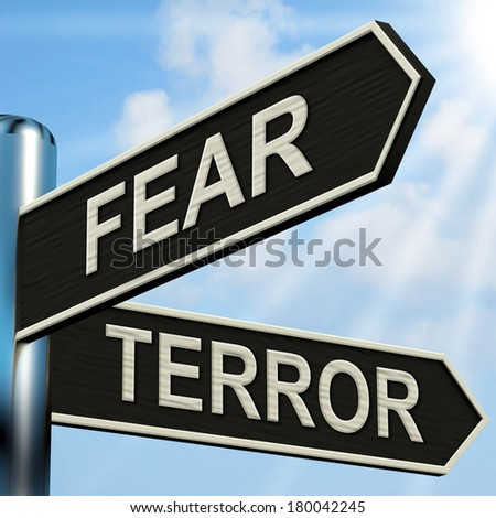Fear Terror Signpost Showing Frightened And Terrified