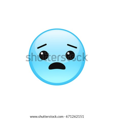 Fearful scared frightened emoji emoticon face icon isolated on white background