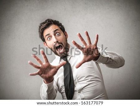 Fearful Screaming - stock photo