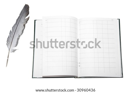 feather and account book under the white background - stock photo