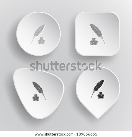 Feather and ink bottle. White flat raster buttons on gray background. - stock photo