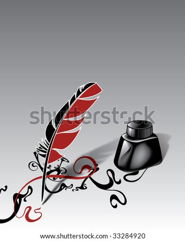 Feather and ink on a gradient - stock photo