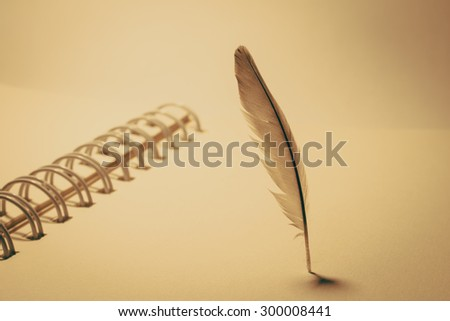 Feather and note book on background vintage - stock photo