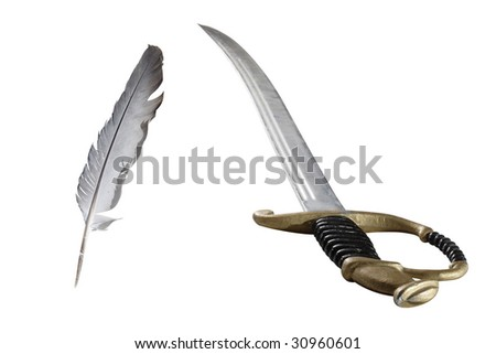 feather and rapier under the white background - stock photo