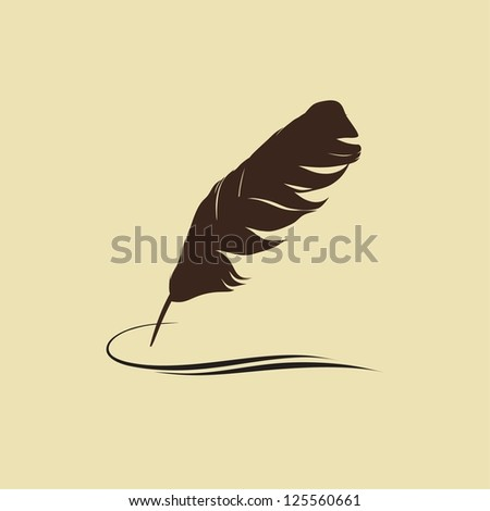 Feather calligraphic pen vector background. Raster version of the loaded vector - stock photo