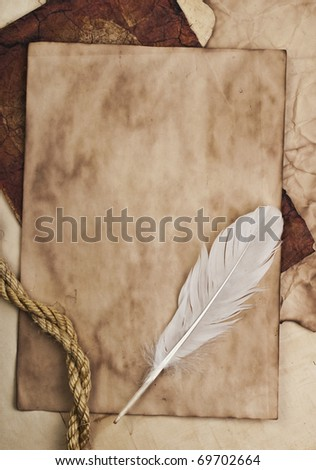 feather on a background of the empty form for the letter