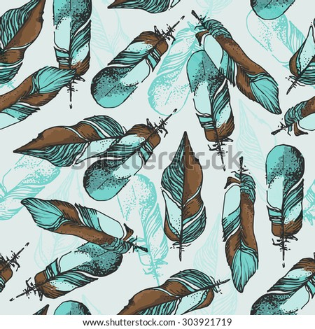 feather pattern blue and brown
