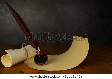 Feather pen and ink - stock photo