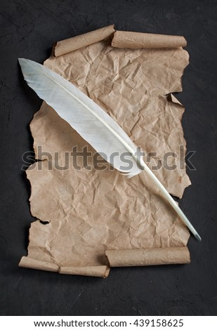 Feather pen and paper scroll on dark background - stock photo