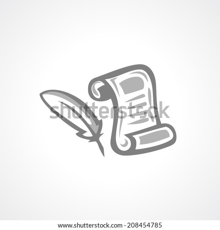 Feather pen and script illustration - stock photo