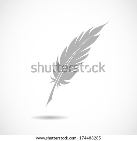 Feather pen icon - stock photo
