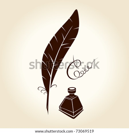 Feather pen ink calligraphic letter - stock photo