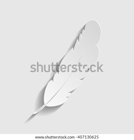 Feather sign. Paper style icon - stock photo