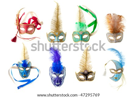 feathered carnival masks isolated on a white background - stock photo