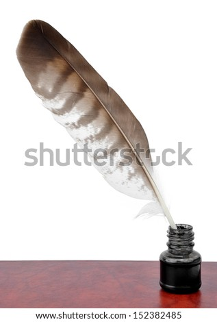 Feathers and ink bottle