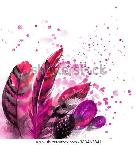 Feathers painted with watercolors on white background. Watercolor color beautiful feathers. Abstract background with  feathers, spray paint on a white background. - stock photo