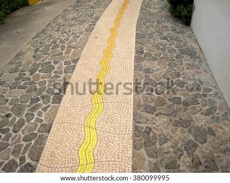 Feature Paving in Street Pavement, Eden Project - stock photo