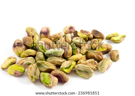 Featured on a handful of shelled pistachios