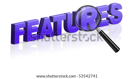 features characteristic properties options qualities performance ability 3D text blue - stock photo