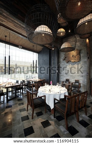 Features renovated restaurant - stock photo