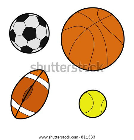 Featuring all types of balls, basket ball, football, rugby and tennis balls.