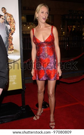 Feb 14, 2005; Los Angeles, CA: Actress UMA THURMAN at the world premiere of her new movie Be Cool, at the Grauman's Chinese Theatre, Hollywood. - stock photo
