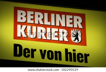 "FEBRUARY 15, 2014 - BERLIN: the logo of the brand ""Berliner Kurier"", Berlin."