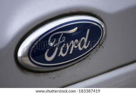 "FEBRUARY 15, 2014 - BERLIN: the logo of the brand ""Ford"", Berlin."