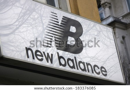 "FEBRUARY 15, 2014 - BERLIN: the logo of the brand ""New Balance"", Berlin."