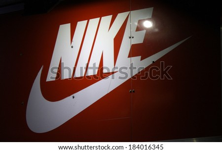"FEBRUARY 15, 2014 - BERLIN: the logo of the brand ""Nike"", Berlin."