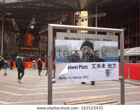 FEBRUARY 12, 2012 - BERLIN: the Marlene Dietrich Platz in front of the Berlinale-Palast has been dedicated to Chinese artist Ai Wei Wei, Berlinale Film Fest 2012, Berlin.