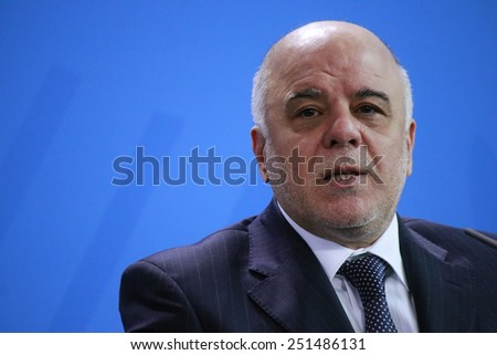 FEBRUARY 5, 2015 - BERLIN: the new Iraqui Prime Minister Haider al Abadi after a meeting with the German Chancellor in the Chanclery in Berlin.