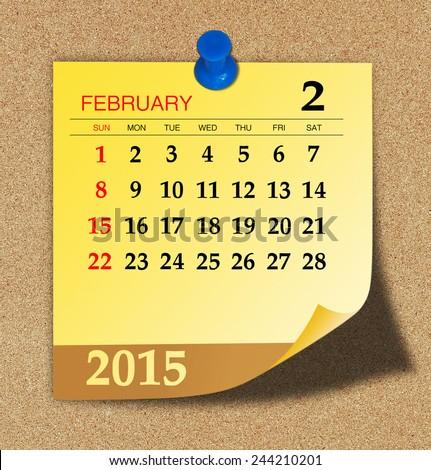 February 2015 - Calendar  - stock photo