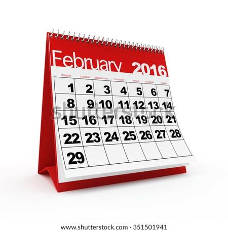 February 2016 calendar - stock photo