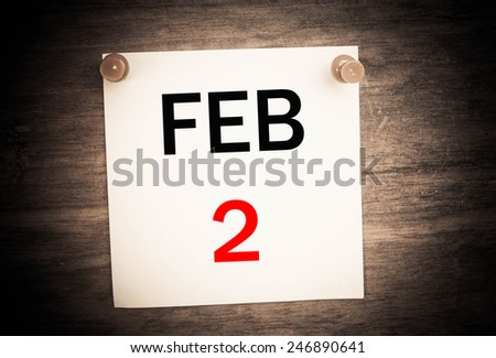 February 2 calendar on note paper   - stock photo