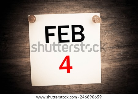 February 4 calendar on note paper   - stock photo