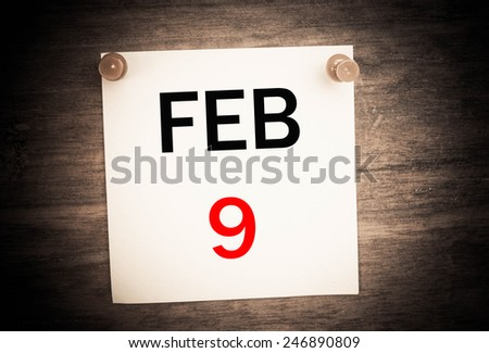 February 9 calendar on note paper   - stock photo