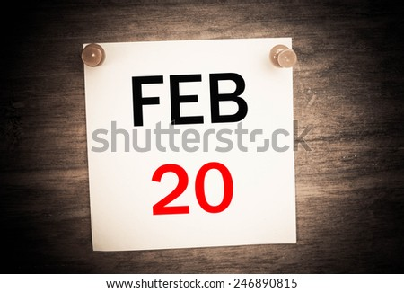 February 20 calendar on note paper   - stock photo