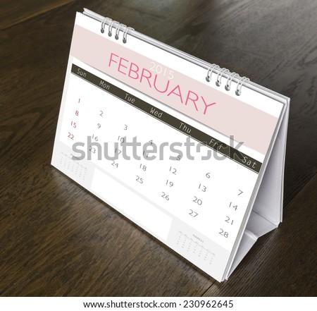 February Calendar  2015 on wood table - stock photo