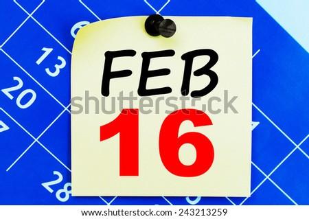 February 16 Calendar. Part of a set - stock photo