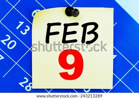 February 9 Calendar. Part of a set - stock photo