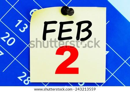 February 2 Calendar. Part of a set - stock photo