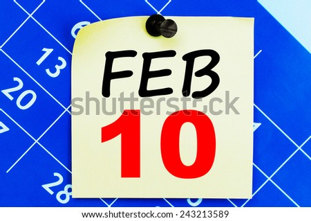 February 10 Calendar. Part of a set - stock photo