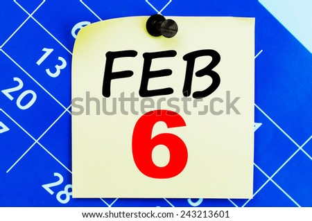 February 6 Calendar. Part of a set - stock photo
