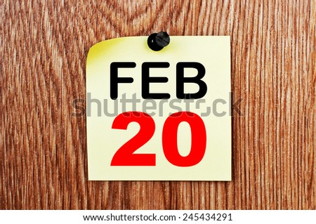 February 20 Calendar. Part of a set - stock photo