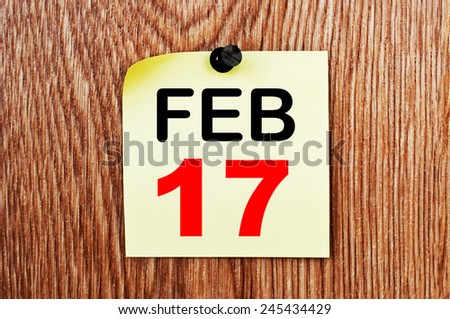 February 17 Calendar. Part of a set - stock photo