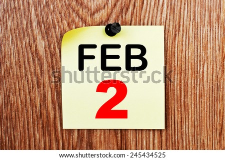 February 2 Calendar. Part of a set - stock photo