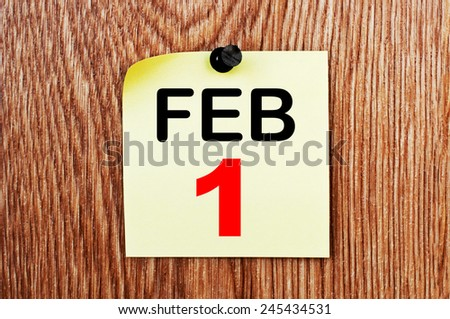 February 1 Calendar. Part of a set - stock photo