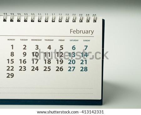 February. Calendar sheet. Calendar of the year two thousand sixteen. - stock photo